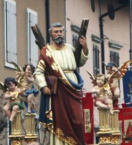 Statua di Sant'Andrea durante la processione, Basiliano